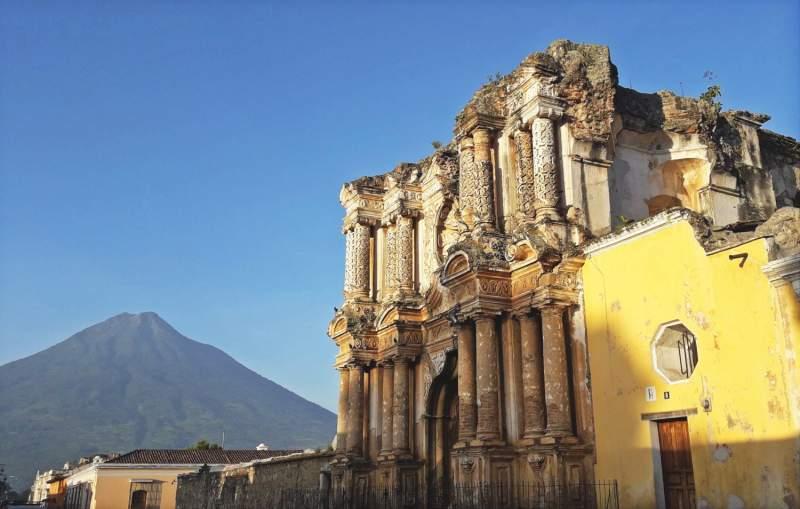 El Carmen Church and Agua Volcano, Antigua Guatemala